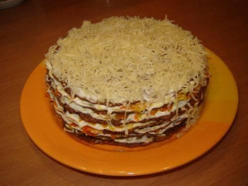 Торт салат из печени говяжьей рецепт